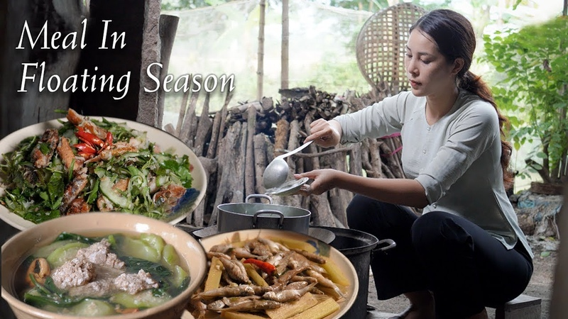 Vietnamese girl catch crab fish in floating water season and cook a delicious meal