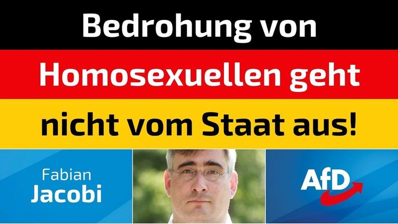 Fabian Jacobi AfD Bedrohung von Homosexuellen geht nicht vom Staat aus