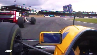 F1 1993 Prost Chases Down Senna - Race Onboard - British Grand Prix