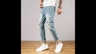 Nsfx мужские джинсы с дырками и трендовым брендом, прямые, со средней талией, светло голубые, классические, смешанные и