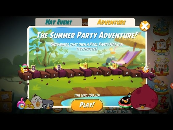 The Summer Party Adventure Pool Party Hat Event Level 1 6 With 3 Birds Angry Birds 2