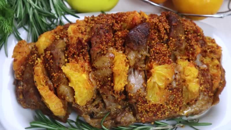 Новогодний Стол Мясо Книжка с апельсинами Сочное ароматное мясо в духовке