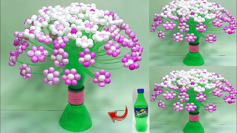 Plastic bottle Craft DIY Tree from Thermocol Balls flower Sprite ki bottle se banaye Guldasta Wool