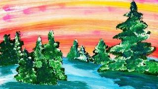 Как нарисовать зимний лес легко и быстро, гуашью. Мастер класс по правополушарному рисованию.