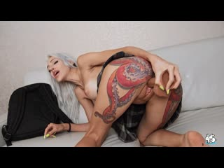 Telari Love - She Lifts Up Her Skirt To Fuck Her Pussy With Huge Dildo