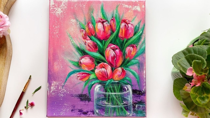 StayHome and Paint With me🌷 Step by Step Tulips painting for Beginners