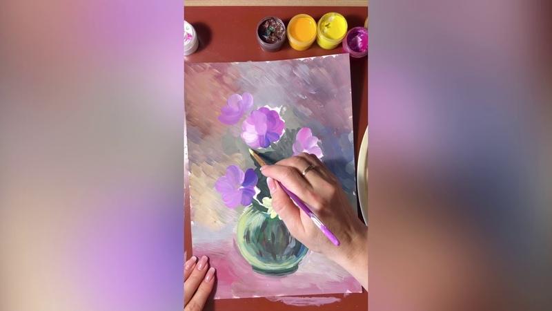 Видео мастер класс Натюрморт полевые цветы в технике гуашь
