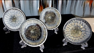 #864 Unique Black, Silver And Gold Epoxy Resin Coasters
