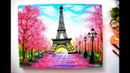 Springtime Cherry blossom Trees and Eiffel Tower Painting / Step by Step Tutorial for Beginners
