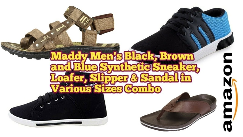 Maddy Men's Black Brown and Blue Synthetic Sneaker Loafer Slipper Sandal in Various Sizes Combo