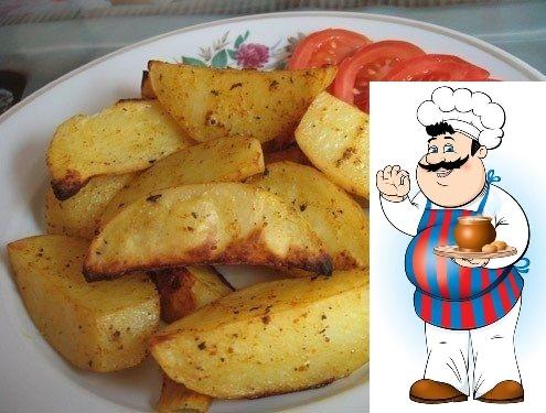 Картошка по-деревенски Ингредиенты: * картофель среднего размера - 6-8 шт., * масло оливковое (можно подсолнечное) - 4-5 ст. л., * куркума - 1/2 ч.л., * майоран - 1/2 ч.л., * кориандр молотый -