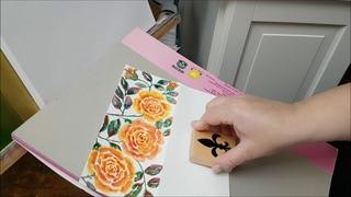 Pink Roses Watercolor Greeting Card, Hand Painted pink Floral Art Card, Yellow Floral Watercolor