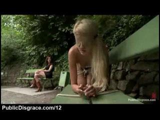 Slave girl tied spank and bastinado in park