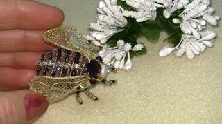 Вышивка БРОШЬ ЖУК Embroidery brooch  ПРИШИВАЮ  КРЫЛЬЯ НОЖКИ  Hand Embroidery| МАСТЕР-КЛАСС 2 часть