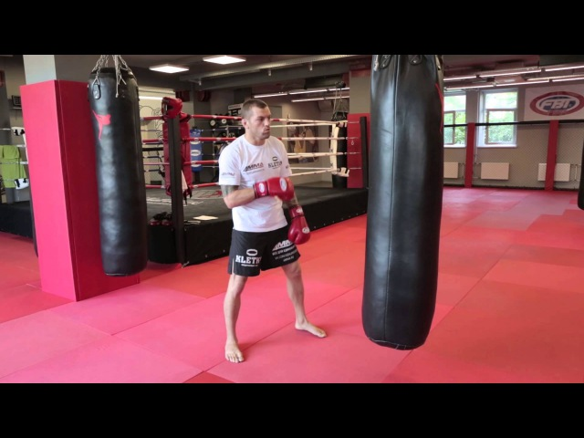 Работа на мешке прямой удар тренировка ударов руками с Андреем Басыниным