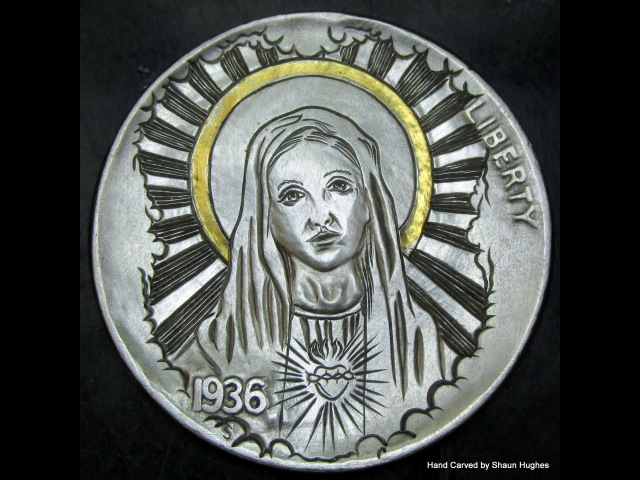 Virgin Mary Carving 24ct Gold Inlay Hobo Nickel by Shaun Hughes