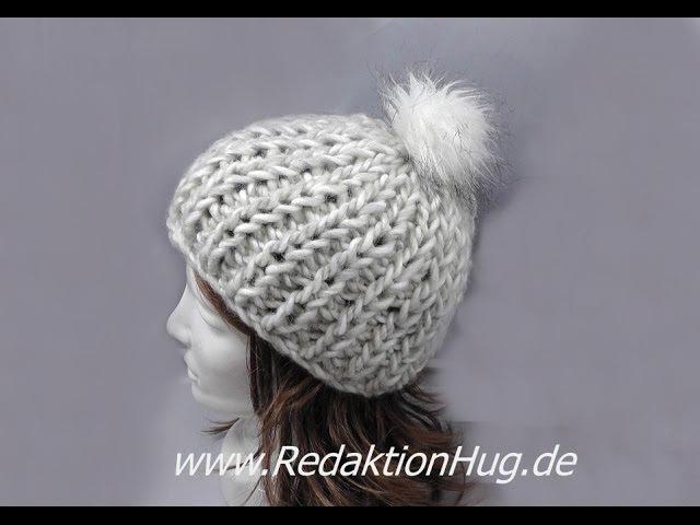 Knooking - Mütze im Patentmuster aus Grande von Junghans-Wollversand