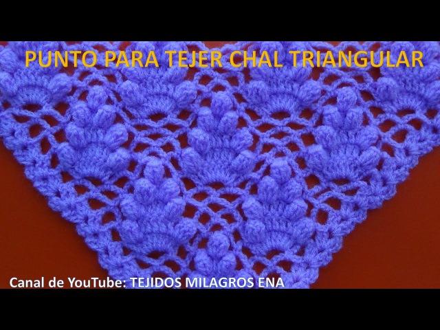 Punto a Crochet FRESITAS para tejer chal triangular, en punta o en V paso a paso