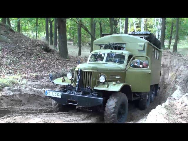 ZIL 157 Bergung durch Ural 375D Militärfahrzeugtreffen Wünsdorf ЗИЛ-157 UAZ469 GAZ69 IFA G5 P3