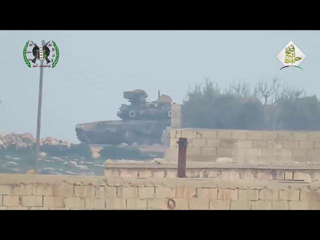 Сирия. Попадание противотанковой ракеты в Т-90