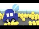 Çizgi film - Dört araba üzerinde renkli top taşıyor