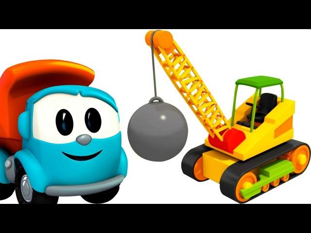 🚚 Léo o caminhão curioso. Um guindaste de demolição. Desenhos animados para crianças. Leo Junior
