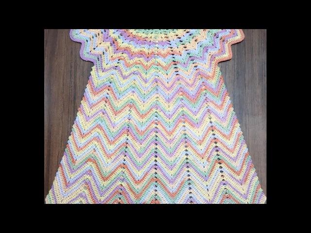 Летнее цветное платье крючком 3 5 лет 1 часть Кокетка Knit a beautiful dress hook