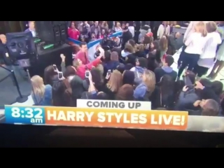 Harry walking to the stage on the today show