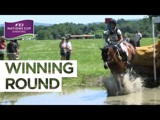 Jennifer Brannigan celebrates at Great Meadow   FEI Nations Cup™ Eventing - The Plains