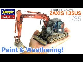 1/35 Hitachi Excavator ZAXIS 135US Hasegawa - Painting and Weathering scale models - Tutorial