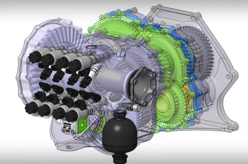 Light Speed Transmission (LST) состоит из восьми многодисковых сцеплений (одно предназначено для дифференциала), восьми актуаторов, восьми датчиков давления и трёх приводных валов.