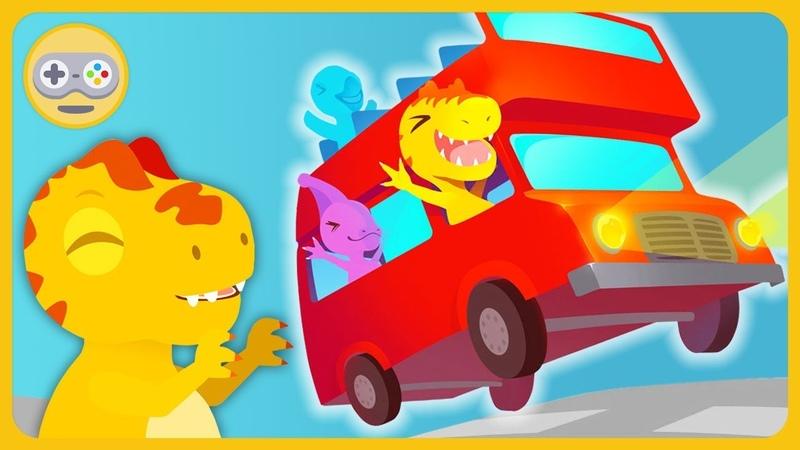 Дино Автобус - Малыши динозаврики катаются на веселых автобусиках * Мультик игра на Kids PlayBox