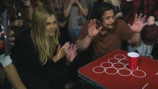 Eliza Taylor and Bob Morley play Beer Pong at Conageddon 2