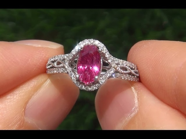 Padparadscha Color Natural Pink Sapphire Diamond 14k White Gold Engagement Ring - A141721