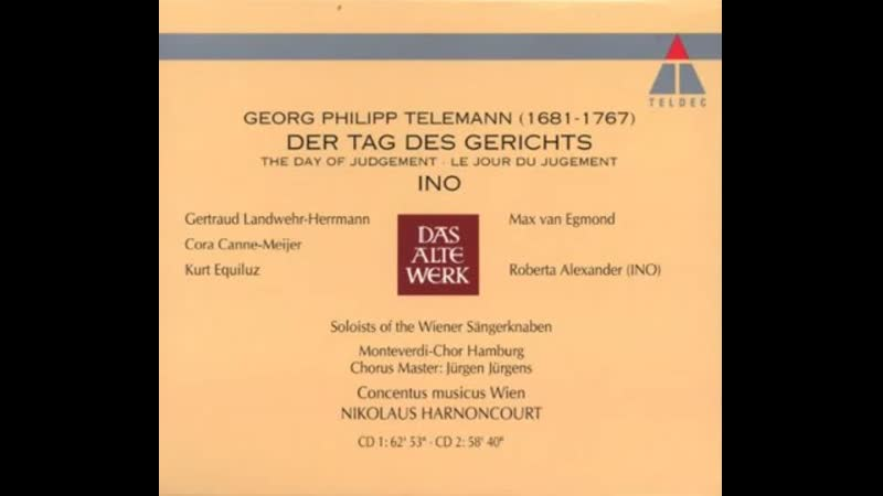 Telemann_ Der Tag Des Gerichts (TWV 6_8), Ino (TWV 20_41) - Harnoncourt - Cd No. (1)