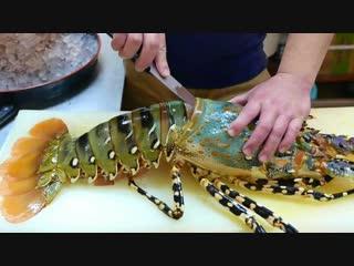 Японская уличная еда - $600 долларов огромный радужный омар