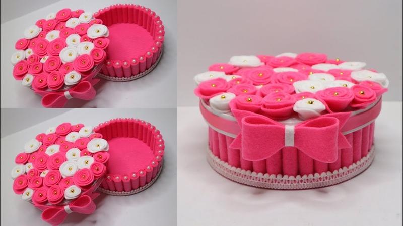 Kreasi tempat permen dari kain flanel | wadah serbaguna dari kain flanel | Candy flower