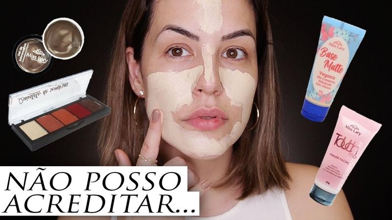 TESTANDO MAKES DA MISS LARY QUE NUNCA USEI - NOVA BASE VEGANA
