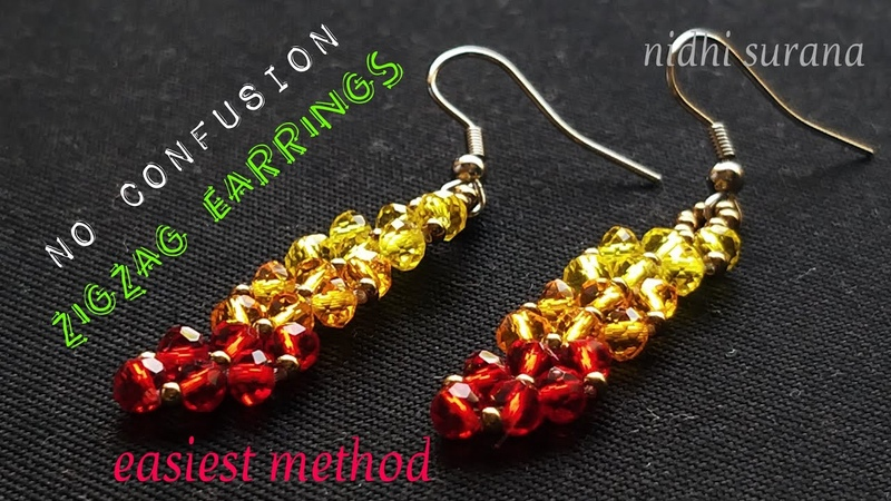 🎀 Easiest ZigZag Earrings || Crystal Earrings/Aretes Tutorial (0239)