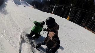 Буковель  (столкновение лыжника и сноубордиста)