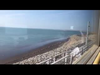 Проезд на поезде по Крымскому мосту