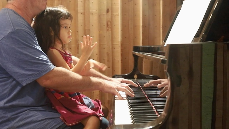 Moon River on Piano for Emilie as a Baby 3 yrs then 5 yrs Old