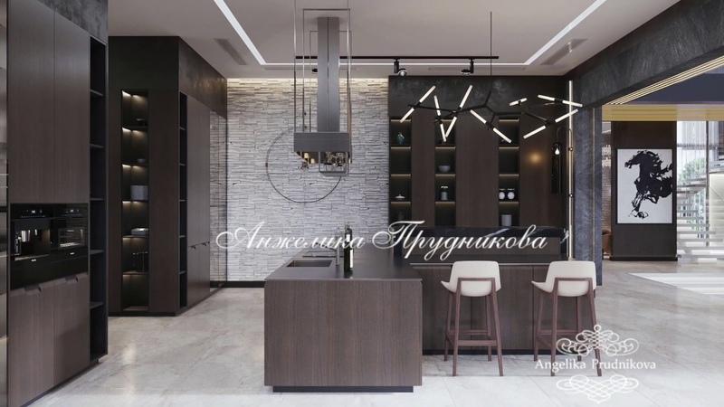 Современные интерьеры кухни и парадной столовой в частном доме