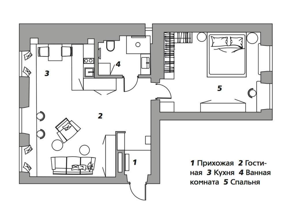 Квартира по проекту Марии Амелиной в Москве, 60 м²
