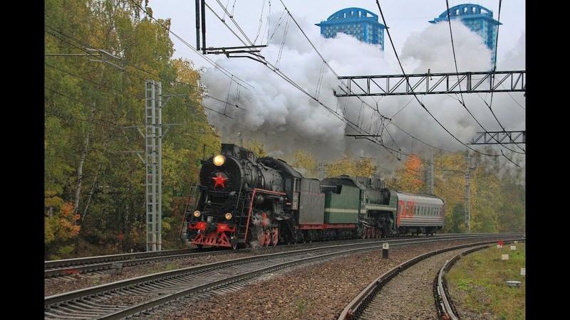 Л-2057 и П36-0120 с ретропоездом, перегон Тушино - Подмосковная