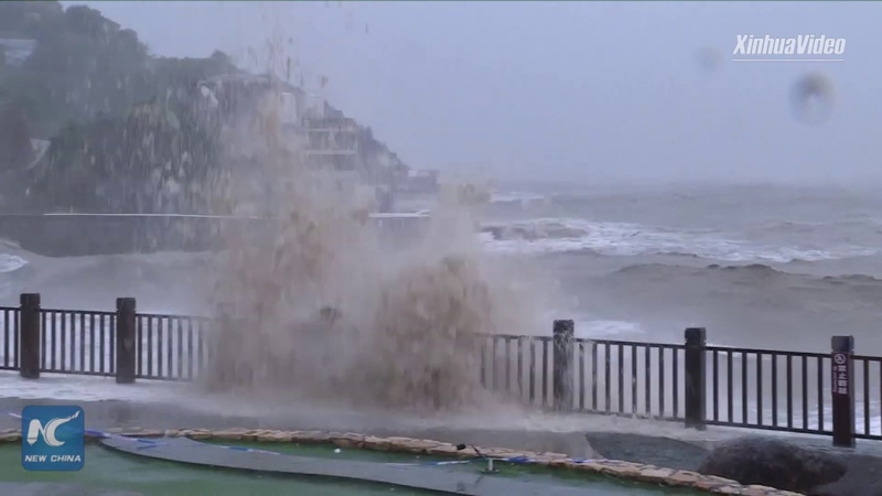 Typhoon Lekima makes landfall in Wenling China