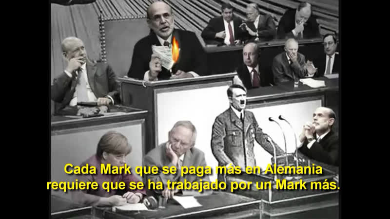 Adolf Hitler explica la verdadera cobertura de una moneda.