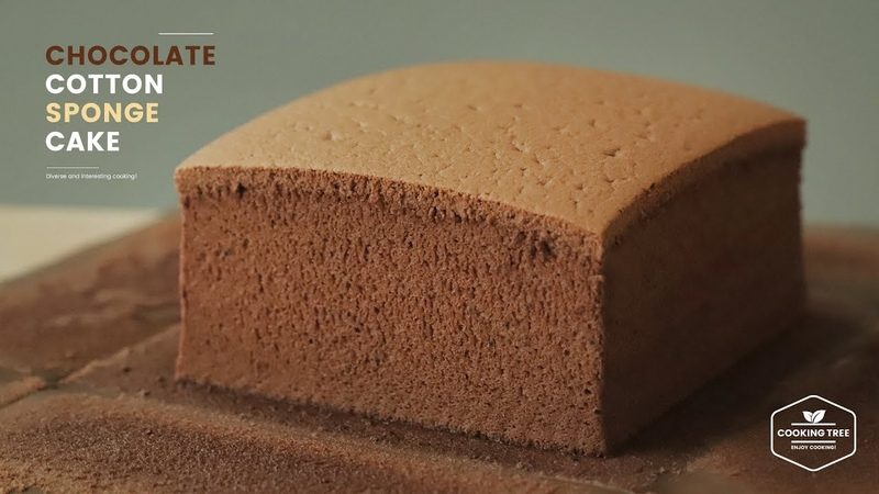 초콜릿 코튼 스폰지 케이크 만들기 초코 대만 카스테라 Chocolate Cotton Sponge Cake Taiwanese Castella Recipe Cooking tree