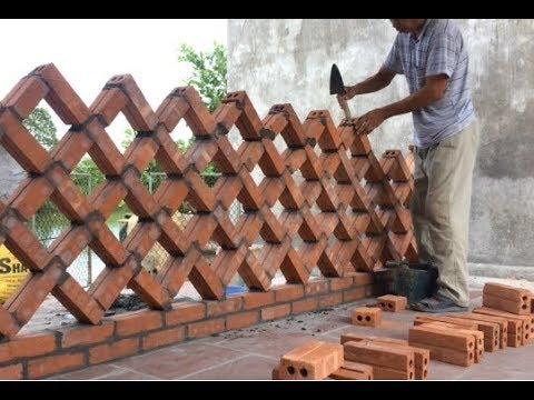 Worker Unique Brick Wall Building Project Great Creative Building Idea