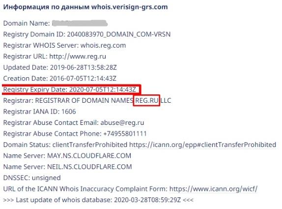 Элементы необходимые для заполнения информации о домене